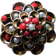 Domed Flower Ring with Red Rhinestones and Seed Pearls