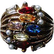 Multi Stone Rhinestone with Seed Pearl Statement Ring