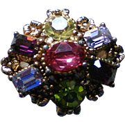 Multi Stone Flower Statement Cocktail Ring