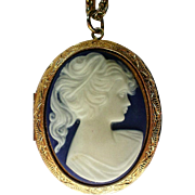 Large Molded Cameo Locket Pendant Necklace