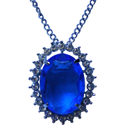 Royal Blue Rhinestone Pendant / Pin