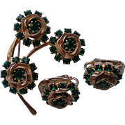 Signed Judy Lee Filigree and Green Rhinestone Flower Brooch with Earrings