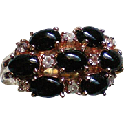 Prong Set Black Cabochon Cluster Statement Ring