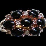 Prong Set Black Cabochon Cluster Statement Ring