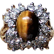 18K HGE Tiger's Eye Cabochon Cocktail Ring