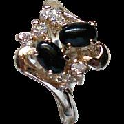 Black Cabochon Prong Set Rhinestone Statement Ring