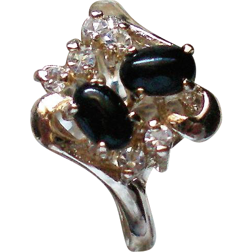 Black Cabochon Prong Set Rhinestone Statement Ring
