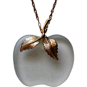 Avon Frosted Glass Apple for the Teacher Pendant