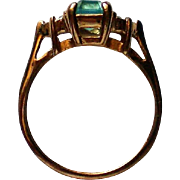 Avon Emerald Cut Simulated Blue Topaz Ring