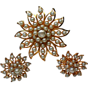 Judy Lee Faux Pearl Brooch and Clip Earrings