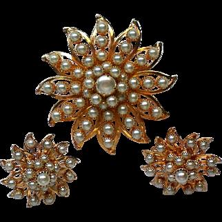 Judy Lee Faux Pearl Brooch and Clip Earrings