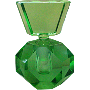 Green Glass Geometric Hexagon Perfume Bottle