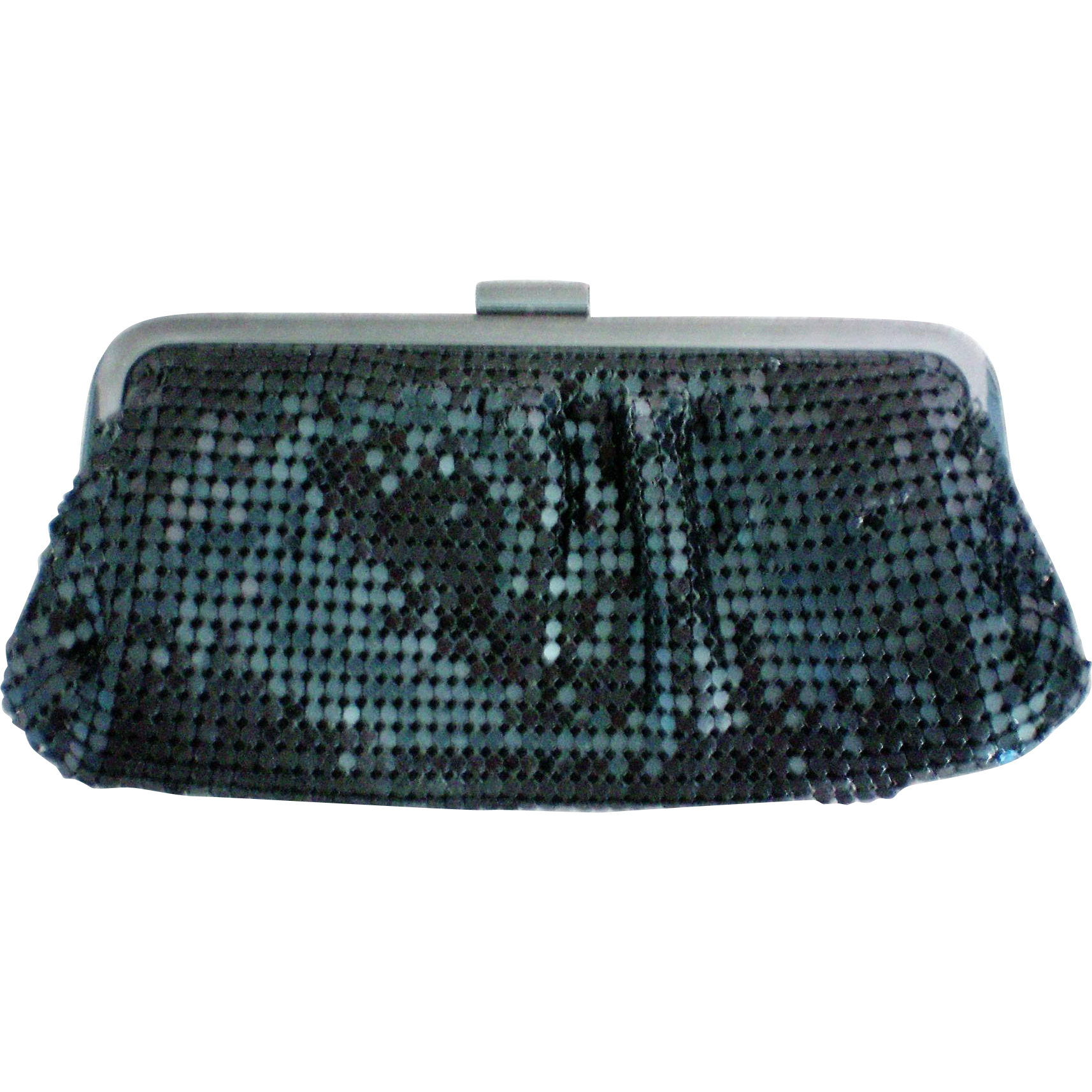 Small Black Metal Mesh Shoulder or Clutch Evening Bag
