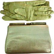 Gold Lemay Evening Clutch with Matching Gloves