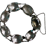 Art Deco Sterling Rock Crystal Caged Bracelet