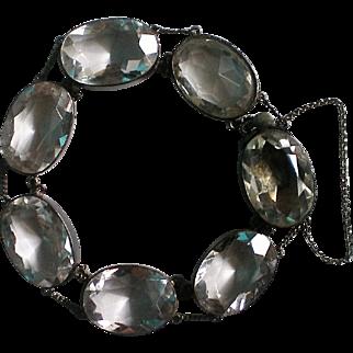 Art Deco Sterling Rock Crystal Caged Bracelet