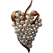 Grape Cluster Pin with faux Pearls & Rhinestones