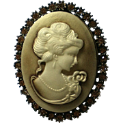 Celluloid Cameo Brooch or Pendant with Rhinestone Frame