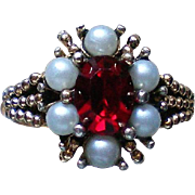 Avon Ruby Red Rhinestone with faux Pearls Cocktail Ring