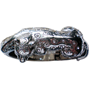 Brighton Leopard / Panther Silver tone Clamper Bracelet