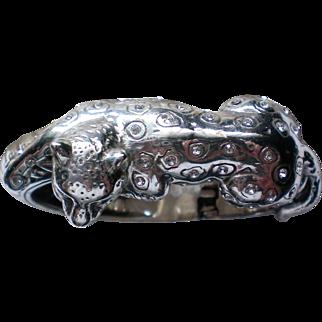 Brighton Leopard / Panther Silver tone Clamper Bracelet