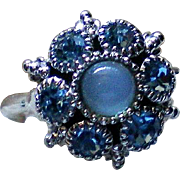 Avon Glass Moonstone and Baby Blue Rhinestone Ring