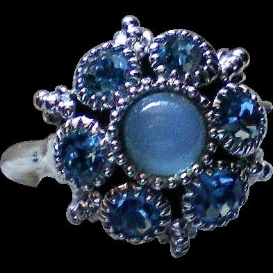 Avon Glass Moonstone and Baby Blue Rhinestone Ring