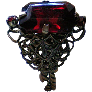 Deep Ruby Red Emerald Cut Rhinestone Filigree Ring
