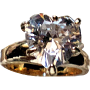 HUGE Heart Shaped CZ Solitaire Ring