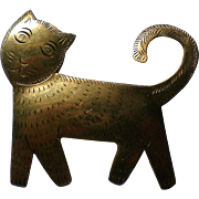 Artisan Brass Cat Pin