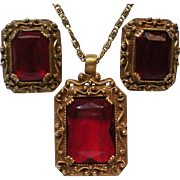 Judy Lee Ruby Red Emerald Cut Pendant Necklace with Earrings