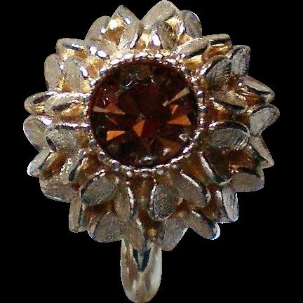 Avon Amber Glass Sweetheart Ring