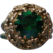 Western Germany Emerald Green Rhinestone Statement Ring