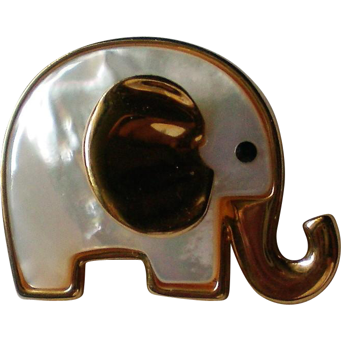 Elephant Pin with Mother of Pearl signed Butler