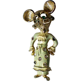 Mother Mouse Pin with Movable Glasses