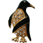 Penguin Bird Pin with Rhinestone Belly