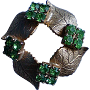 Gold Leaf Green Rhinestone Pin