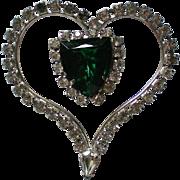 Large Green Rhinestone Heart Pin