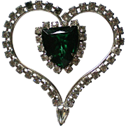 Large Green Rhinestone Heart Pin