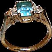 Aqua Glass Rhinestone Ring