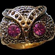 Wise Owl Ring with Pink Rhinestone Eyes