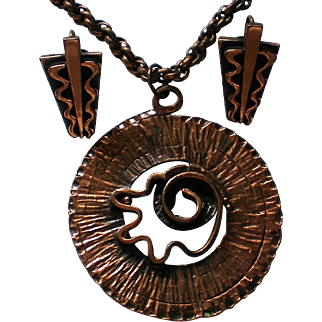 Copper Pendant Necklace with Matching Screw Back Earrings