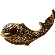 Golden Filigree Fish or Whale Pin