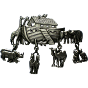 Pewter Noah's Ark Pin by JJ Jonette Jewelry