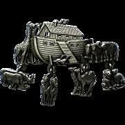 Pewter Noah's Ark Pin by JJ Jonette Jewelry