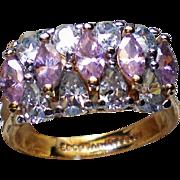 Pink Quartz Marquis Cocktail Statement Ring 925