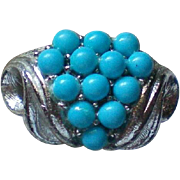 Delicate Faux Turquoise Silver tone Ring