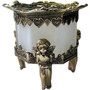 Frosted Glass Cherub Dresser Trinket Box or Votive Candle Holder