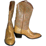 Tony Lama Full Quill Ostrich Exotic Men's Cowboy Boot / Matching Belt