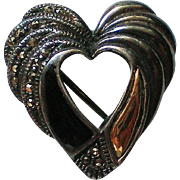 Sterling Silver Marcasite Onyx Valentine Heart Pin